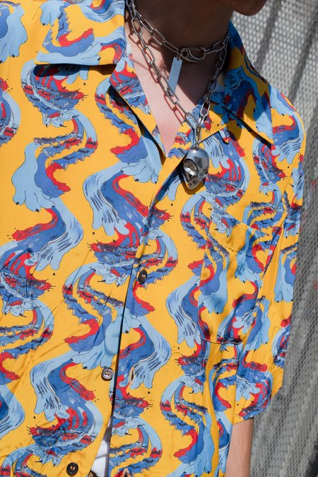 Marni Acid Cars Print Viscose Wrinkled Shirt