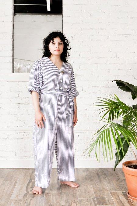 Wray Norma Petite Jumpsuit - Blue Stripe