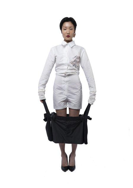 fey fey WORLDWIDE WRINKLE SHIRT JUMPSUIT - White