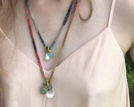 LA VIE BOHEME L.V.B. Chain Necklace - turq/quartz