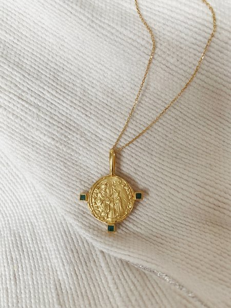 Cleopatra's Bling Byzantine Venice Domino Contrarini Medallion with Three Emeralds - Gold