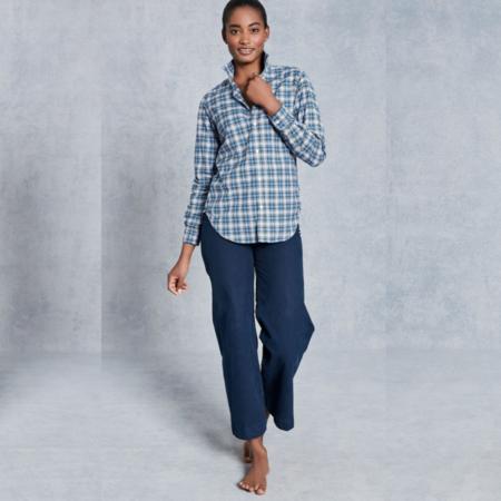 Frank & Eileen Frank Classic Cotton Poplin Shirt - Slate Blue/Green Plaid