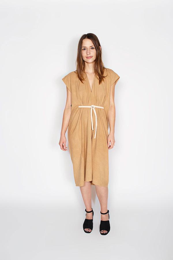 Miranda Bennett Tempest Dress, Silk Noil in Camel