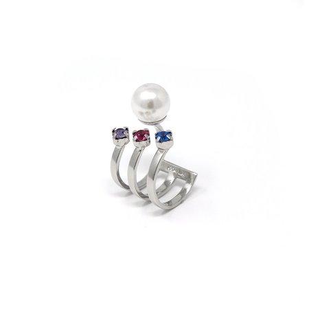 Joomi Lim Open Ring W/ 3 Crystals & Pearl - Rhodium/Rainbow/White