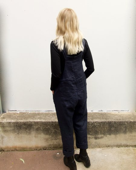 Linen and Lime Linen Dungarees - Navy
