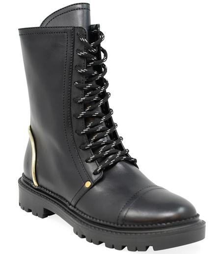 Casadei Flat Lace Up Boot - Black/Gold