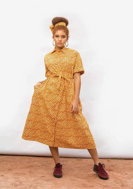 Yevu Drawstring Midi Dress - Poppy