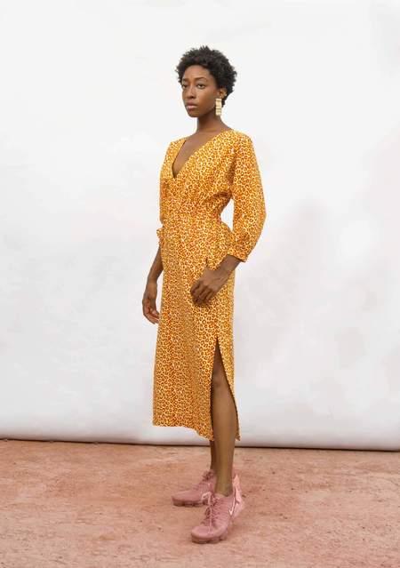 Yevu Crossover Midi Dress - Poppy