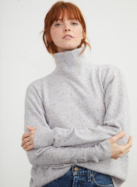 Autumn Cashmere Relaxed Mock Neck with cuff Detail - Cinder