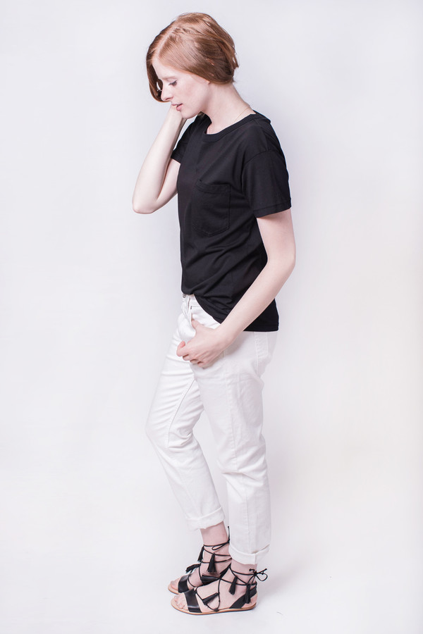 Calder Jaq Knit Pocket Tee Black
