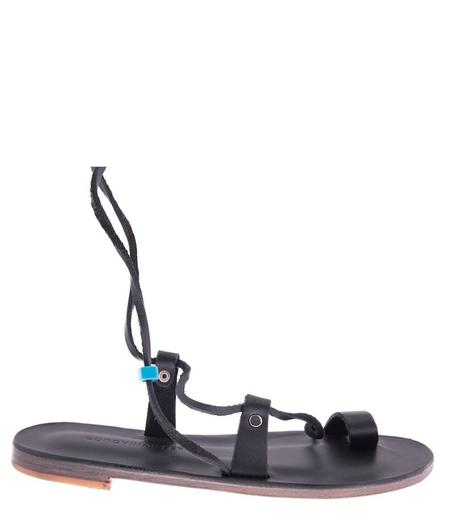 BOUGAINVILLEAS SARGAS FLAT LACE UP ONE TOE LEATHER SANDAL - BLACK