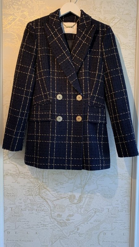 Camilla and Marc Dominique Double Breasted Check Blazer - Navy Blue