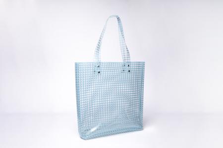 Clyde Lucid Tote in Sky Blue Gingham Vinyl