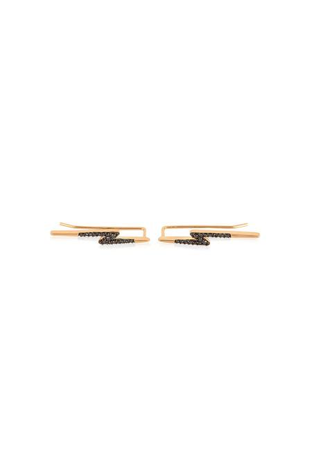 Adina Reyter Pave Lightning Bolt Wing Earrings 14k Yellow Gold Black Diamonds