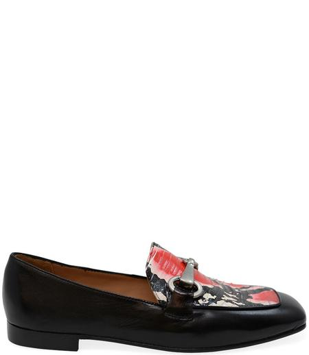 Madison Maison By Mara Bini Gioia Flat Loafer With Snake - Black