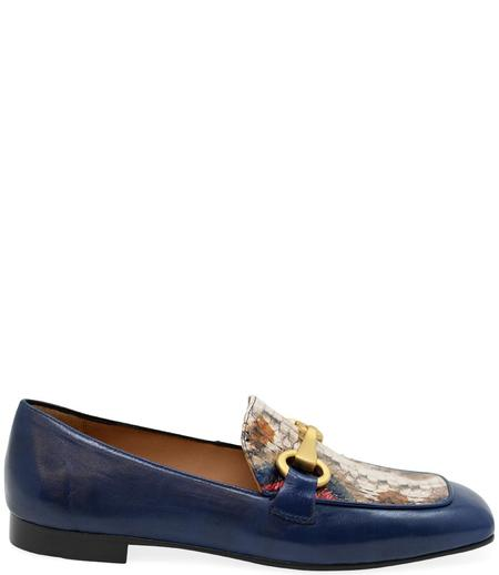 Madison Maison By Mara Bini Gioia Flat Loafer With Snake - Navy