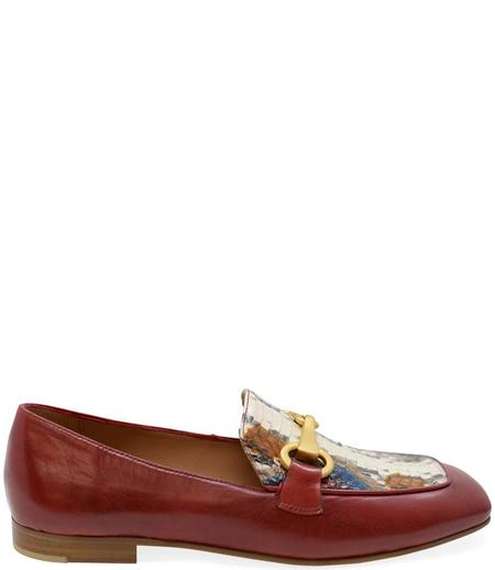 Madison Maison By Mara Bini Gioia Flat Loafer With Snake - Red