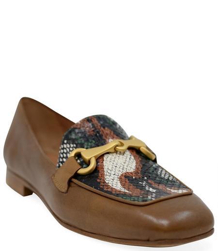 Madison Maison By Mara Bini Gioia Flat Loafer With Snake - Tan