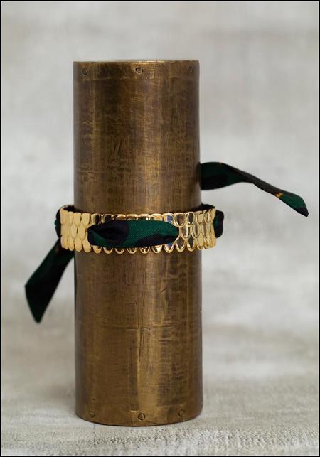 Annee Scale Scarf Tie Bracelet - GREEN LEOPARD