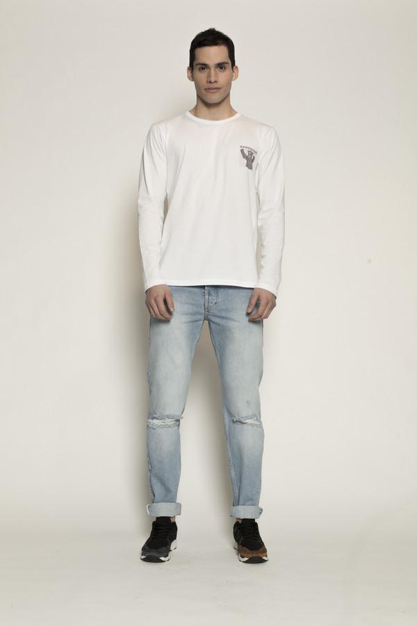 Men's Soulland Albert White Long Sleeve T-Shirt