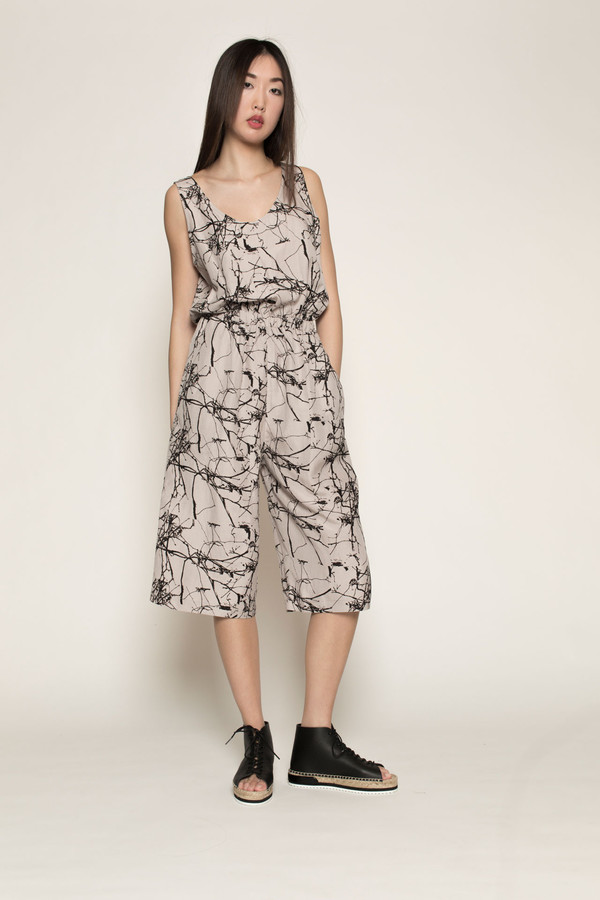 H. Fredriksson Crop Jumpsuit in Twigs Linen/Silk