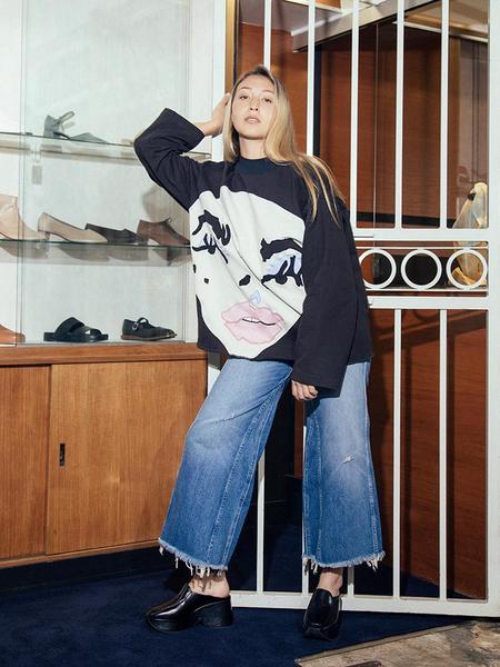 Unisex Francesca Longo Face Sweatshirt - Black/White