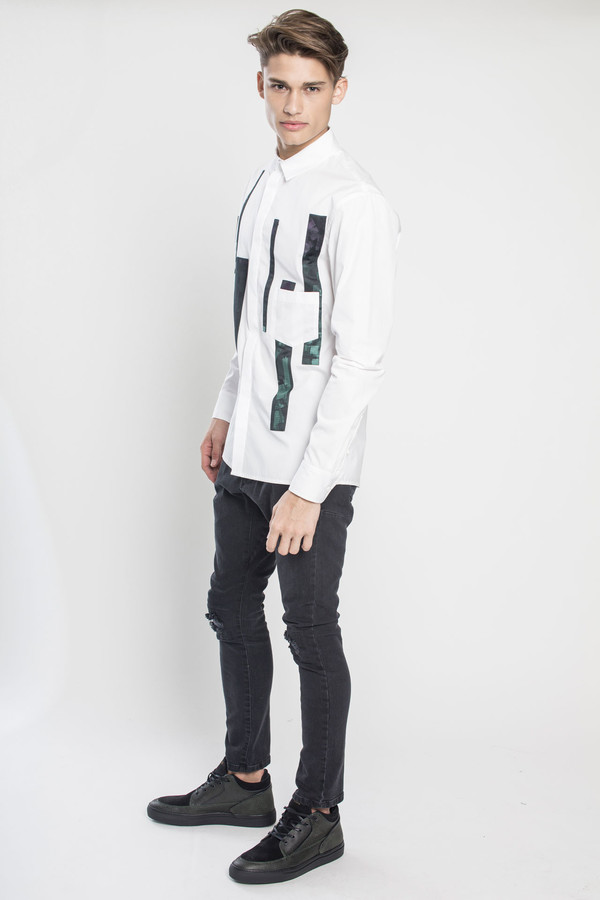 Men's Kenneth Ning Jacquard Applique Shirt in White
