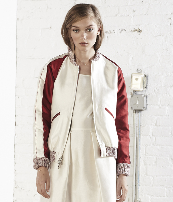 Nikki Chasin Captain Reversible Bomber Jacket - Ivory/Red