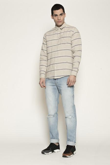Men's Soulland Logan Shirt with Pockets in Beige w/ Navy Stripes