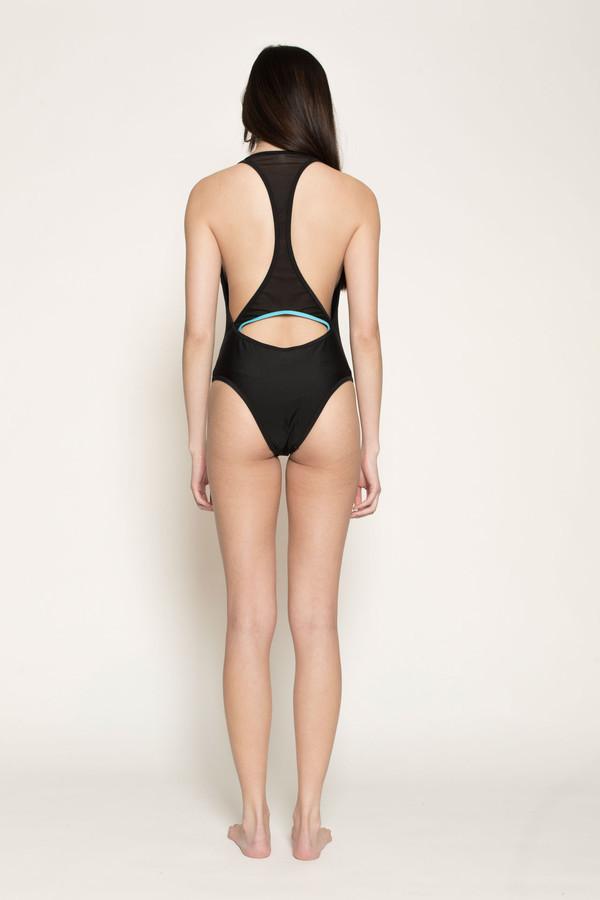 Chromat Serena Suit in Black/Aqua