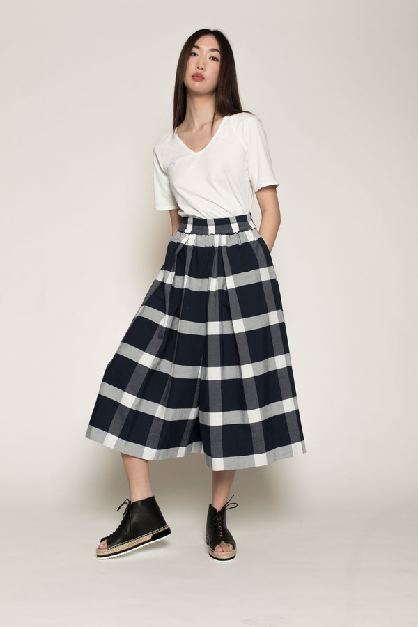 Kowtow Things in Common Culottes in Navy/White Check