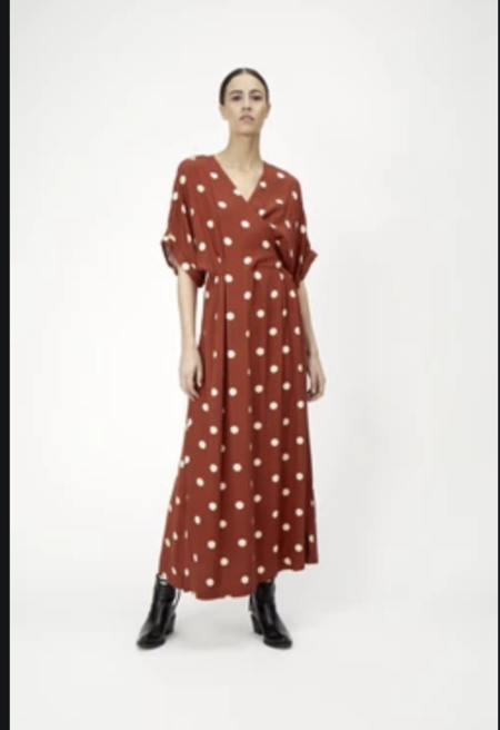 Just Female caia dress - barn red polka dot aop