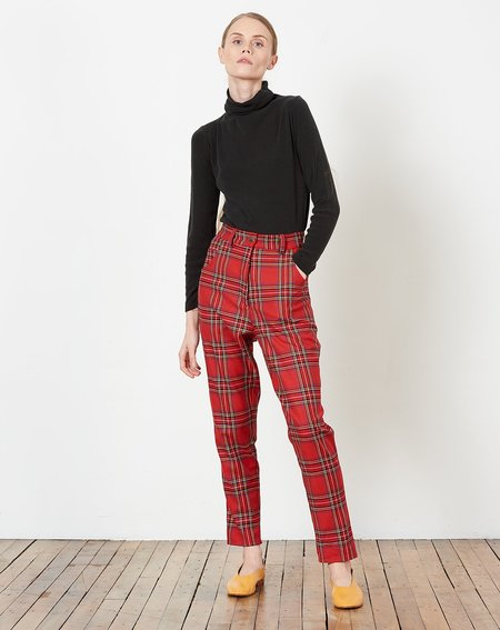 Suzanne Rae 5 Pocket Pant - Red Plaid Wool