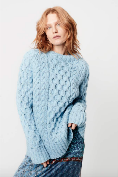 Smythe Handknit Cable Knit Crew Sweater - Heather Blue