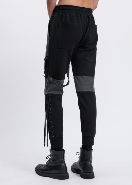 Black Lux Contrast Sweatpants - Black/Grey