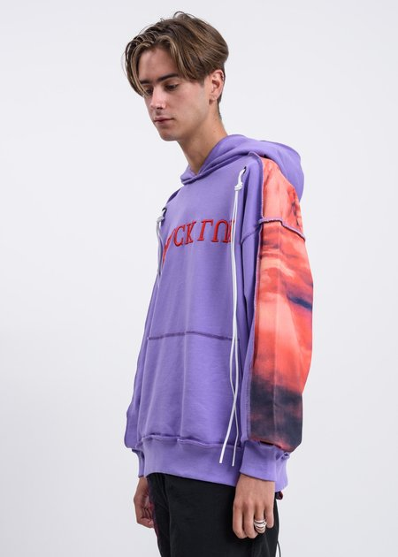 Black Lux Panel Logo Hoodie - Purple