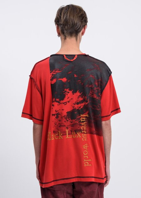 Black Lux Contrast Stitch Clouds T-Shirt - Red