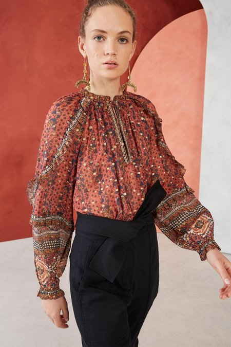 Ulla Johnson Calista Blouse - Brick