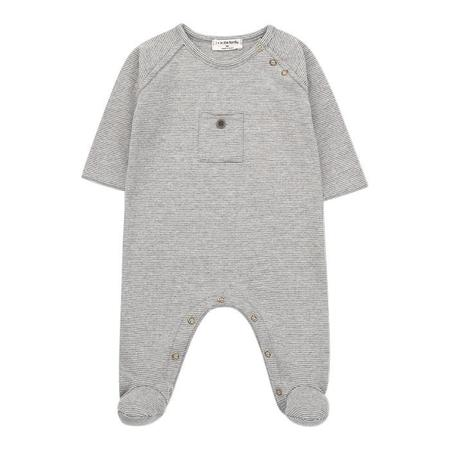 Kids 1+ In The Family Baby Asier Jumpsuit - Light Grey/White Stripes