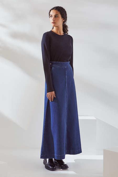 Kowtow Outline Skirt in Mid Blue Denim