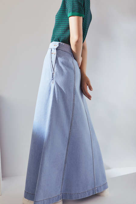 Kowtow Outline Skirt in Pale Blue Denim