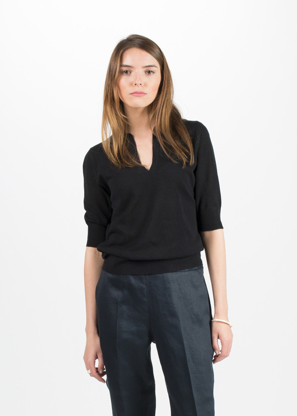 Margaret Howell Open Collar Pique Jumper
