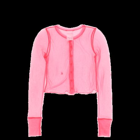 Helmut Lang Sheer Nylon Rib Femme Cardigan - Prism Pink