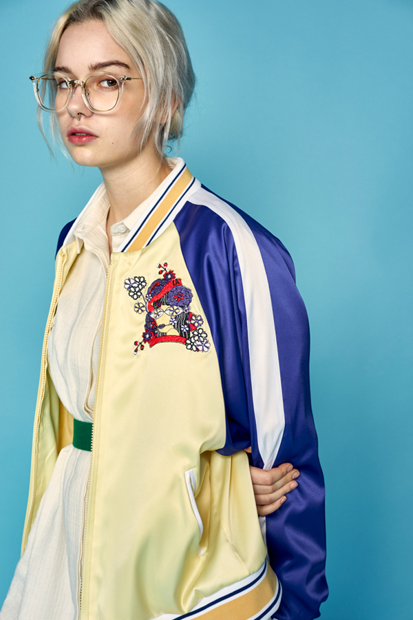 ANOTHER A Satin Embroidered Bomber Jacket