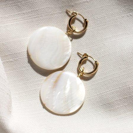 Christine Elizabeth Jewelry Grande Mother of Pearl Mini Hoop Earrings - 14k Gold Filled