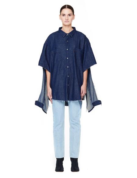 Vetements Oversized Denim Shirt with Cuts