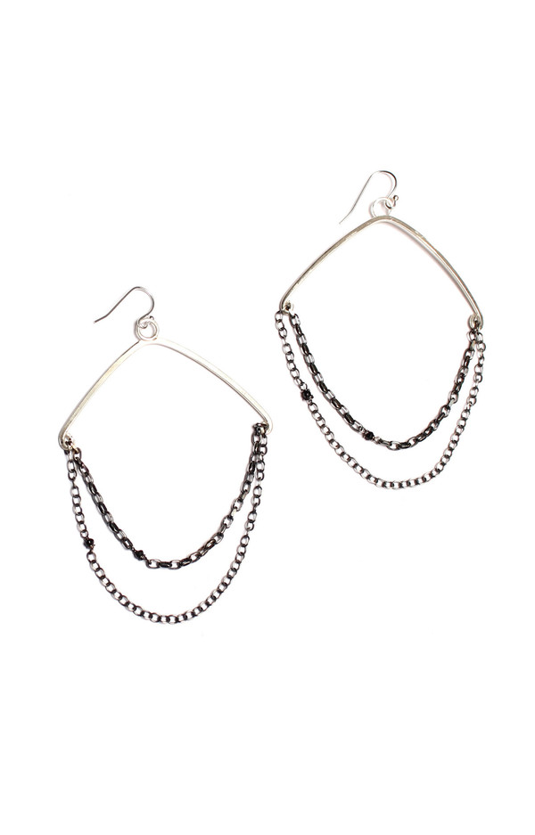 Sarah Dunn Silver Chain Hoops with Black Diamonds