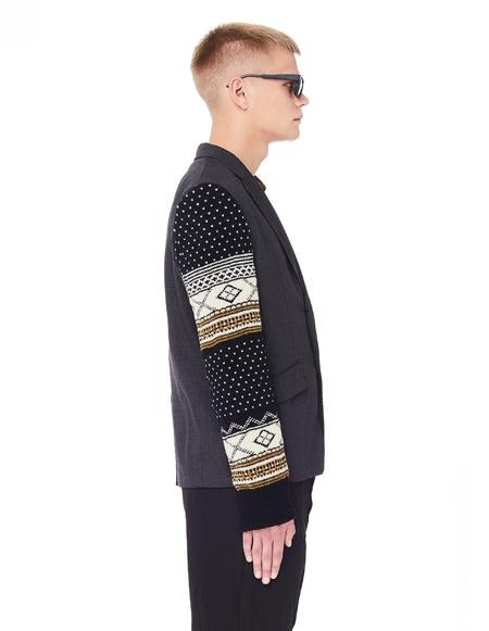 Junya Watanabe Grey Jacket With Knitted Sleeves