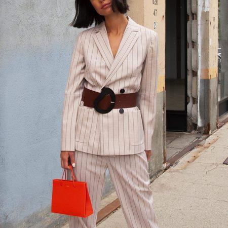 Tibi Tropical Wool Blazer with Sleeve Slit - Hazelwood