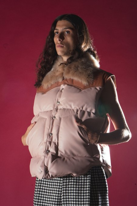 LOEWE Padded Fur Collar Leather Vest - Light Pink